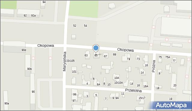 Łódź, Okopowa, 65, mapa Łodzi