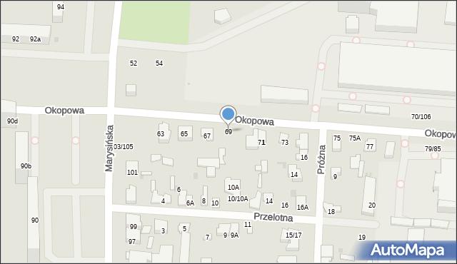 Łódź, Okopowa, 69, mapa Łodzi