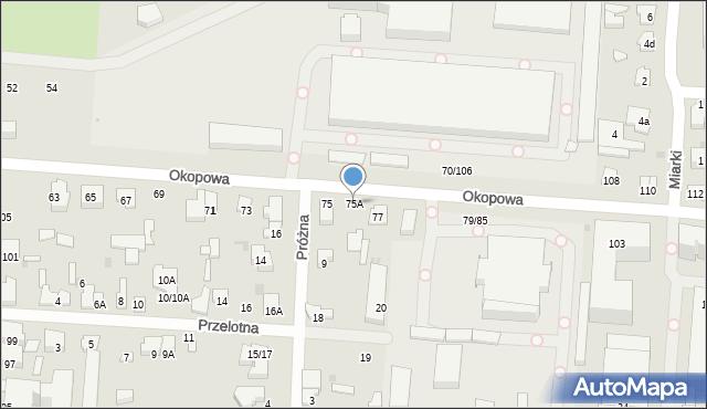 Łódź, Okopowa, 75A, mapa Łodzi