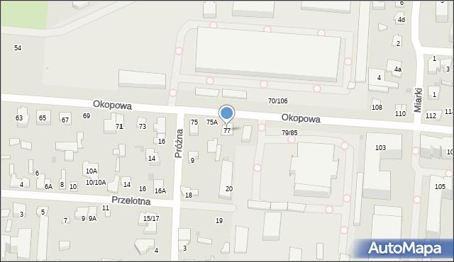 Łódź, Okopowa, 77, mapa Łodzi