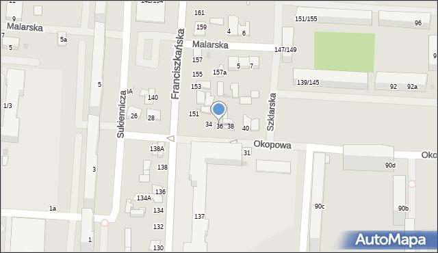 Łódź, Okopowa, 36, mapa Łodzi