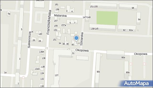 Łódź, Okopowa, 40a, mapa Łodzi
