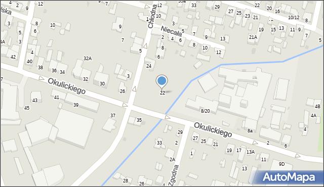 Radom, Okulickiego Leopolda, gen., 22, mapa Radomia
