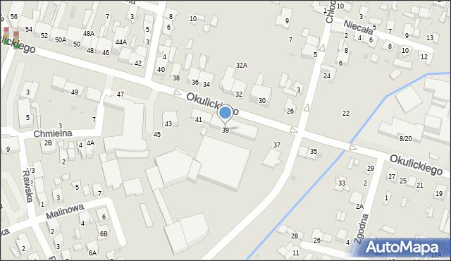 Radom, Okulickiego Leopolda, gen., 39, mapa Radomia