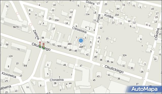 Radom, Okulickiego Leopolda, gen., 44A, mapa Radomia
