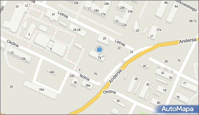 Toruń, Okólna, 7a, mapa Torunia