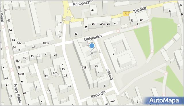 Warszawa, Okólnik, 11, mapa Warszawy