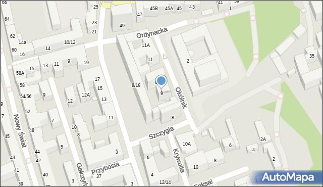 Warszawa, Okólnik, 9, mapa Warszawy