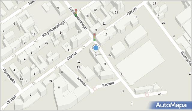 Warszawa, Okrzei Stefana, 14, mapa Warszawy