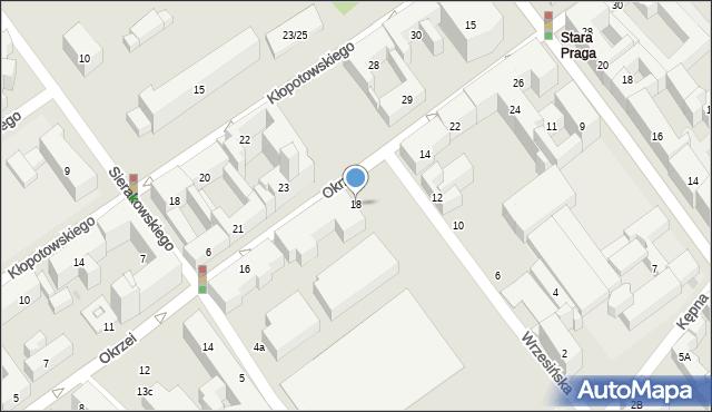 Warszawa, Okrzei Stefana, 18, mapa Warszawy