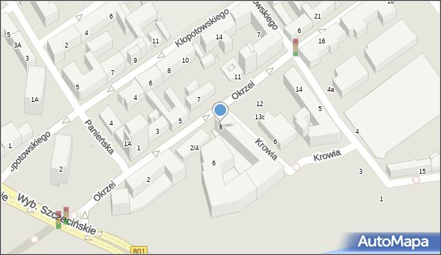 Warszawa, Okrzei Stefana, 8, mapa Warszawy