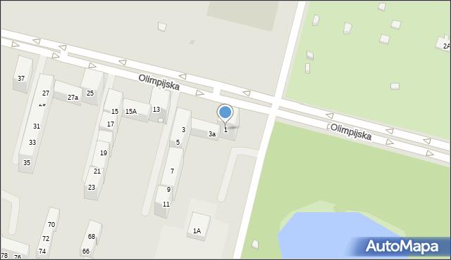 Bytom, Olimpijska, 1, mapa Bytomia