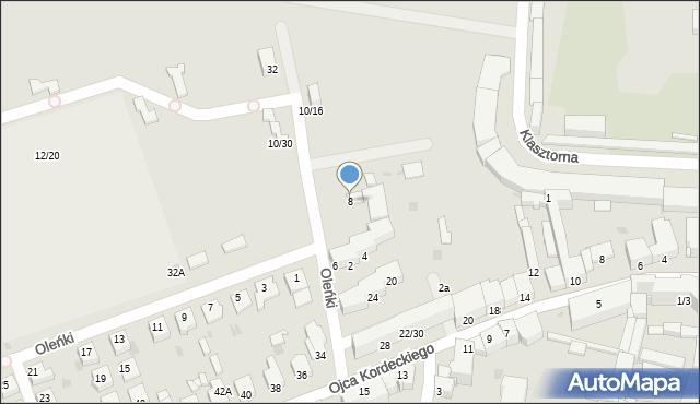 Częstochowa, Oleńki, 8, mapa Częstochowy