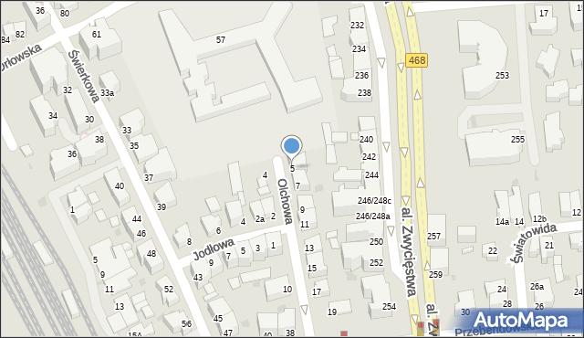 Gdynia, Olchowa, 5, mapa Gdyni