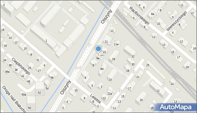 Kraków, Olszyny, 9b, mapa Krakowa