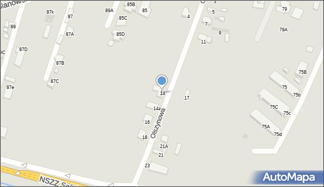 Radom, Olszynowa, 14, mapa Radomia