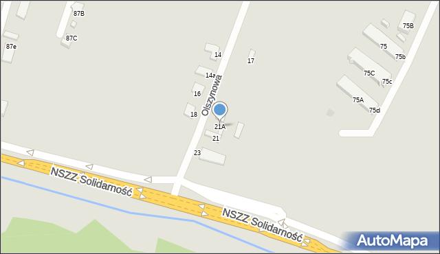 Radom, Olszynowa, 21A, mapa Radomia