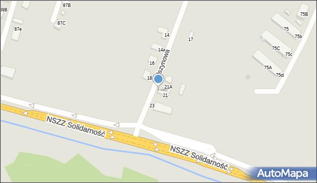 Radom, Olszynowa, 21B, mapa Radomia