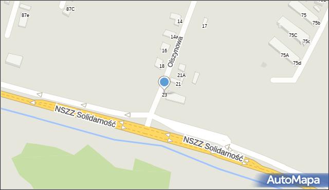 Radom, Olszynowa, 23, mapa Radomia