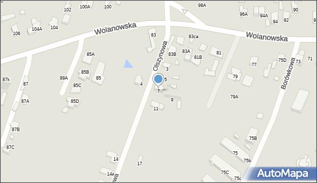 Radom, Olszynowa, 7, mapa Radomia