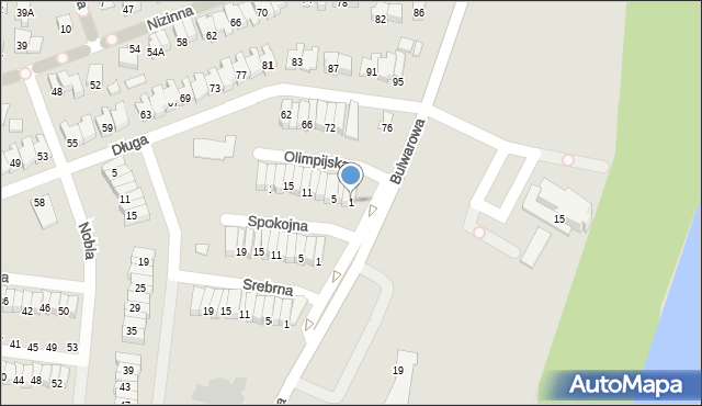 Radom, Olimpijska, 1, mapa Radomia