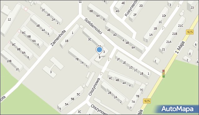 Ruda Śląska, Olszynowa, 9, mapa Rudy Śląskiej