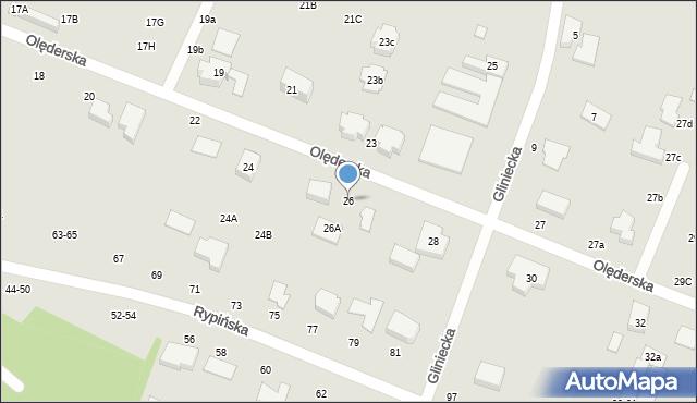 Toruń, Olęderska, 26, mapa Torunia