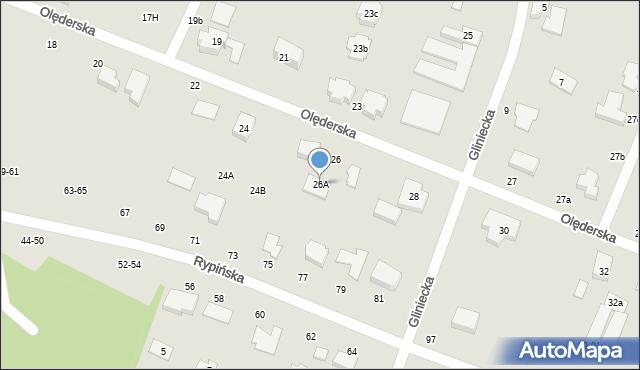 Toruń, Olęderska, 26A, mapa Torunia