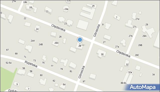 Toruń, Olęderska, 28, mapa Torunia