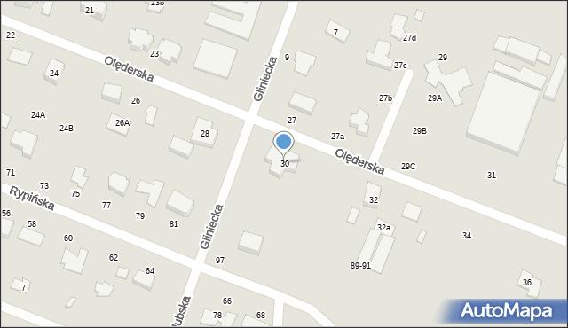 Toruń, Olęderska, 30, mapa Torunia