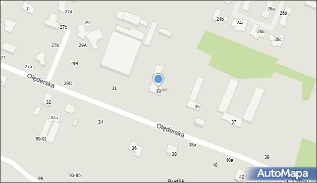 Toruń, Olęderska, 33, mapa Torunia