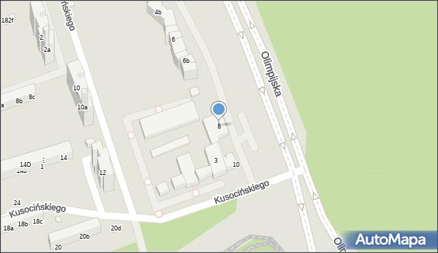 Toruń, Olimpijska, 8, mapa Torunia