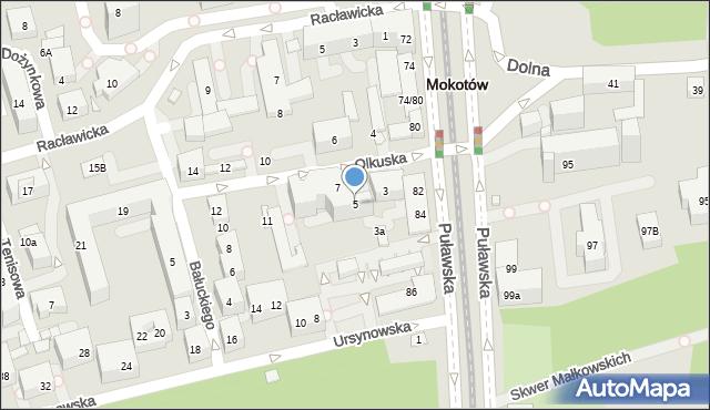 Warszawa, Olkuska, 5, mapa Warszawy