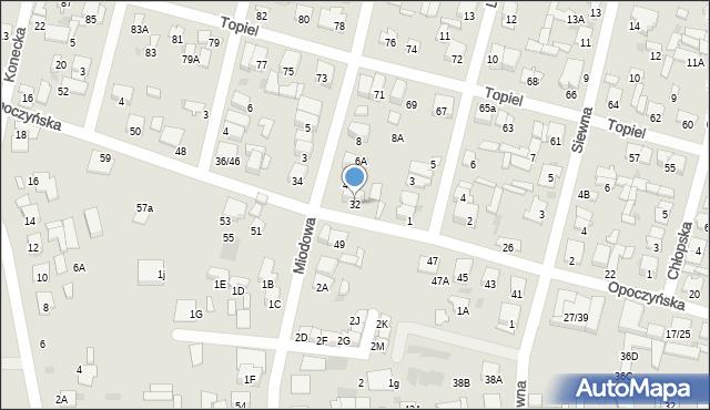 Radom, Opoczyńska, 32, mapa Radomia