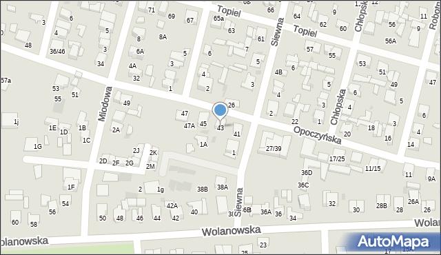 Radom, Opoczyńska, 43, mapa Radomia