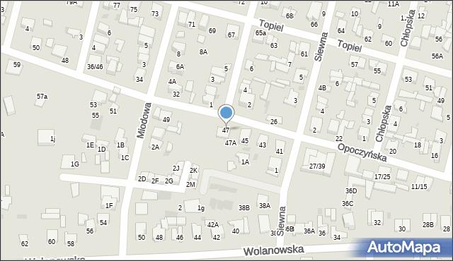 Radom, Opoczyńska, 47, mapa Radomia