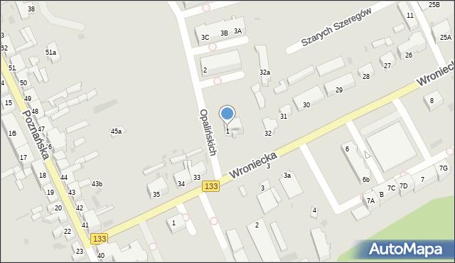 Sieraków, Opalińskich, 1, mapa Sieraków