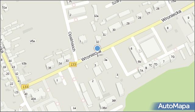 Sieraków, Opalińskich, 3, mapa Sieraków