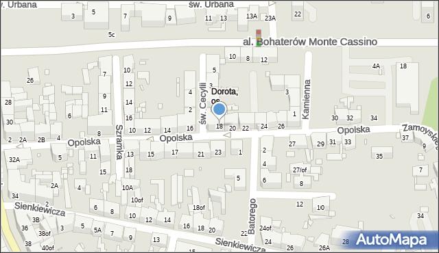Zabrze, Opolska, 18, mapa Zabrza