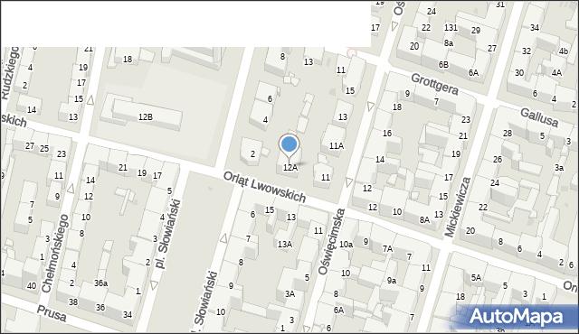 Bytom, Orląt Lwowskich, 12A, mapa Bytomia