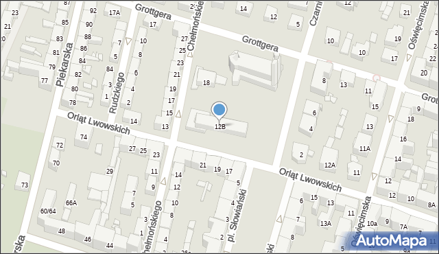 Bytom, Orląt Lwowskich, 12B, mapa Bytomia