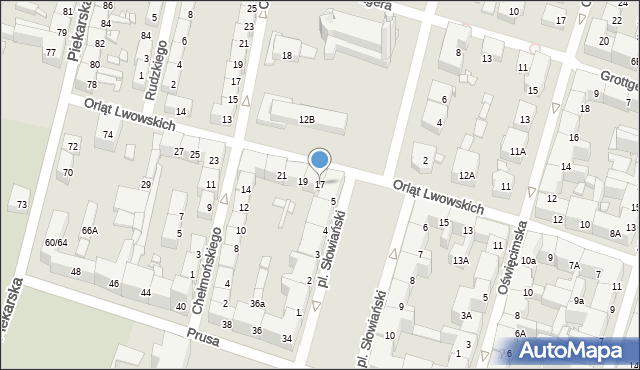 Bytom, Orląt Lwowskich, 17, mapa Bytomia