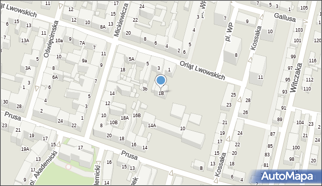 Bytom, Orląt Lwowskich, 1B, mapa Bytomia