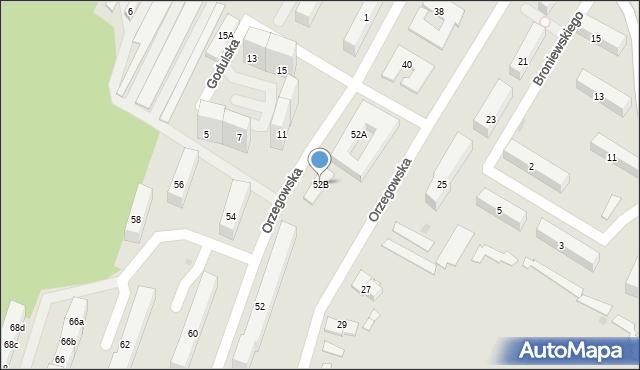 Bytom, Orzegowska, 52B, mapa Bytomia