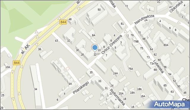 Chełm, Orlicz-Dreszera Gustawa, gen., 12, mapa Chełma