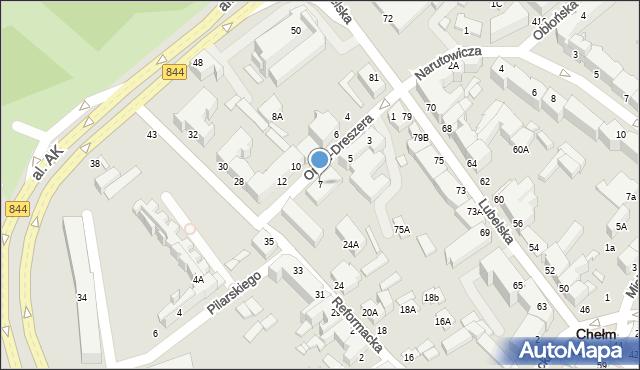 Chełm, Orlicz-Dreszera Gustawa, gen., 7, mapa Chełma