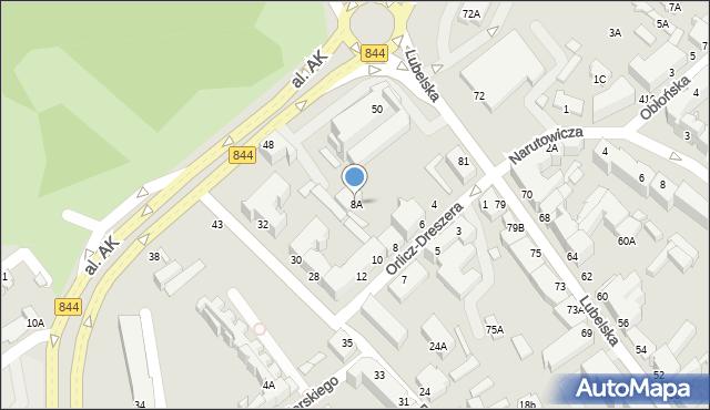 Chełm, Orlicz-Dreszera Gustawa, gen., 8A, mapa Chełma
