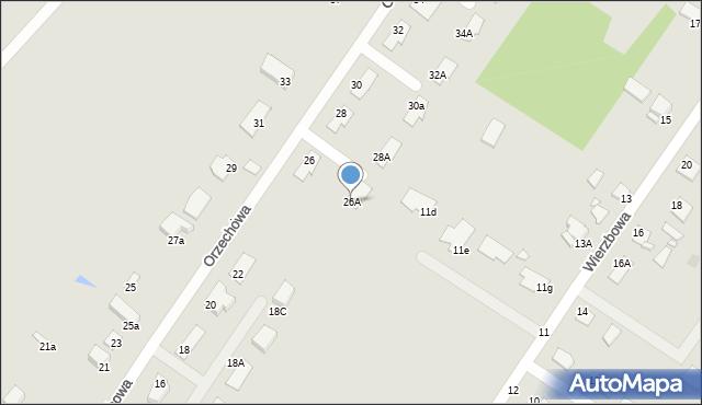 Grudziądz, Orzechowa, 26A, mapa Grudziądza