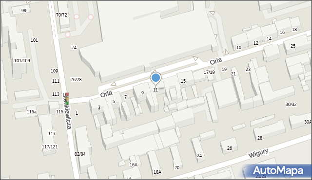Łódź, Orla, 11, mapa Łodzi