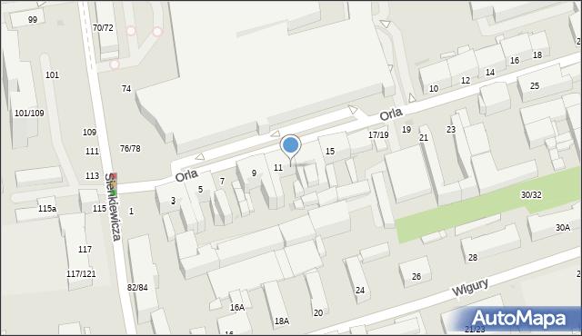 Łódź, Orla, 13, mapa Łodzi